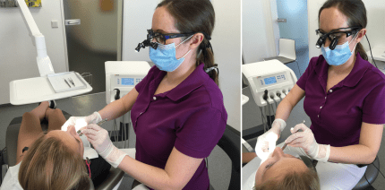 Einsatz einer Lupenbrille während der Prophylaxesitzung
