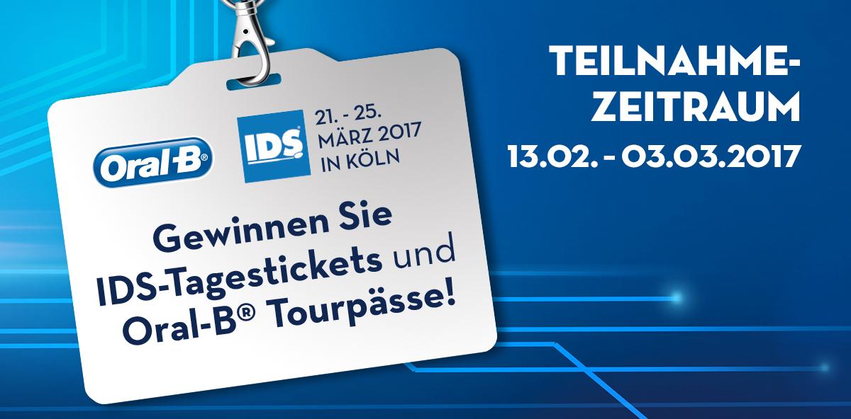 Dentalcare-de.de: Jetzt IDS-Tagestickets & Oral-B Tourpässe gewinnen