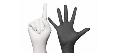 Monoart-Einmalhandschuhe in schwarz und weiß