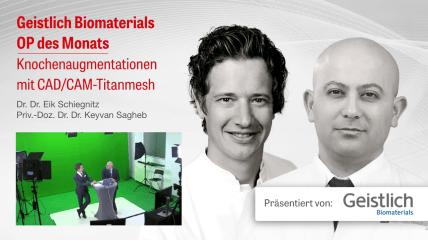 """Video des Geistlich Live-Tutorials """"Knochenaugmentation mit CAD/CAM-Titanmesh"""""""